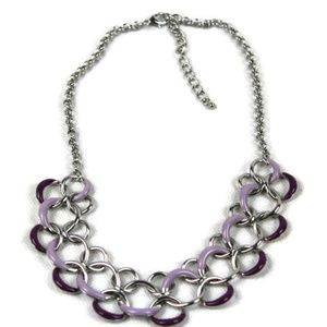 Christopher & Banks Silver Tone Ringed Necklace